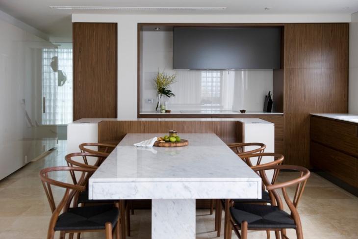 white rectangular dining table design