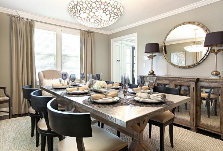 rectangular metal dining table