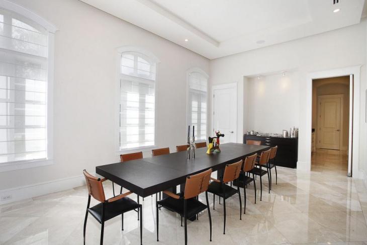 Rectangular Dining Table Marble Floor Idea