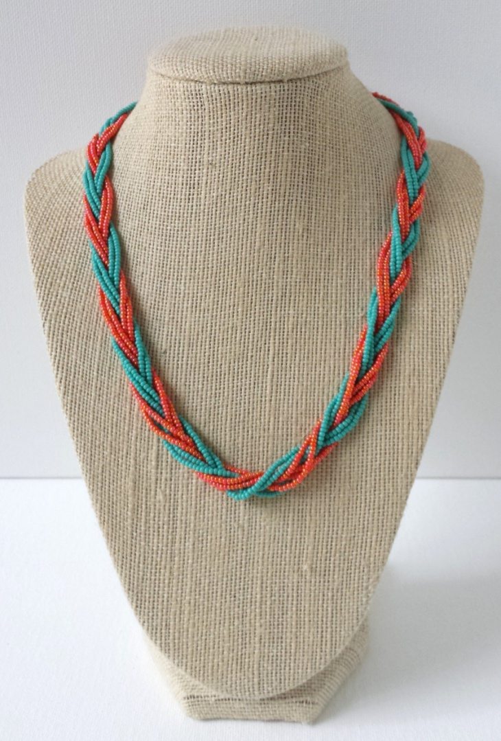 teal and orange beaded necklace