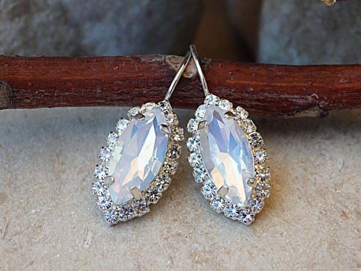 White Opal Crystal Earrings