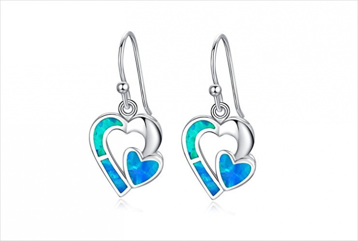 Blue Opal Earrings Model