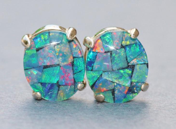 mosaic opal earrings