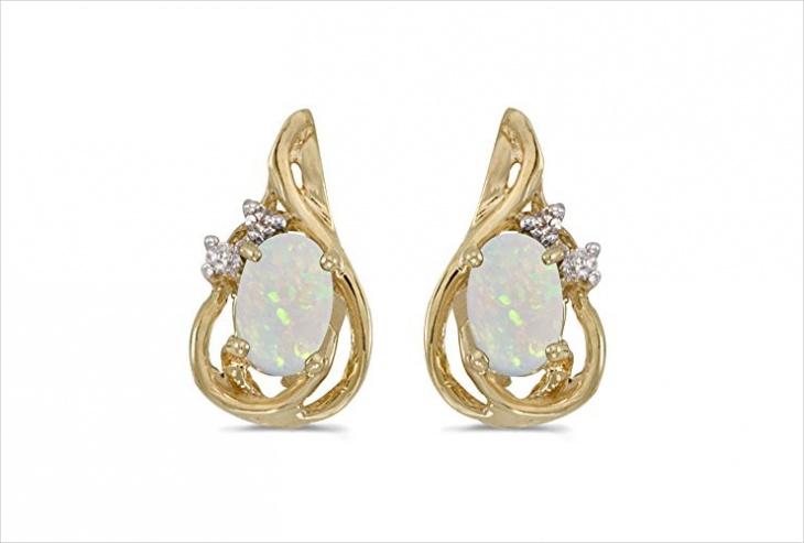 Yellow Gold Opal Earrings