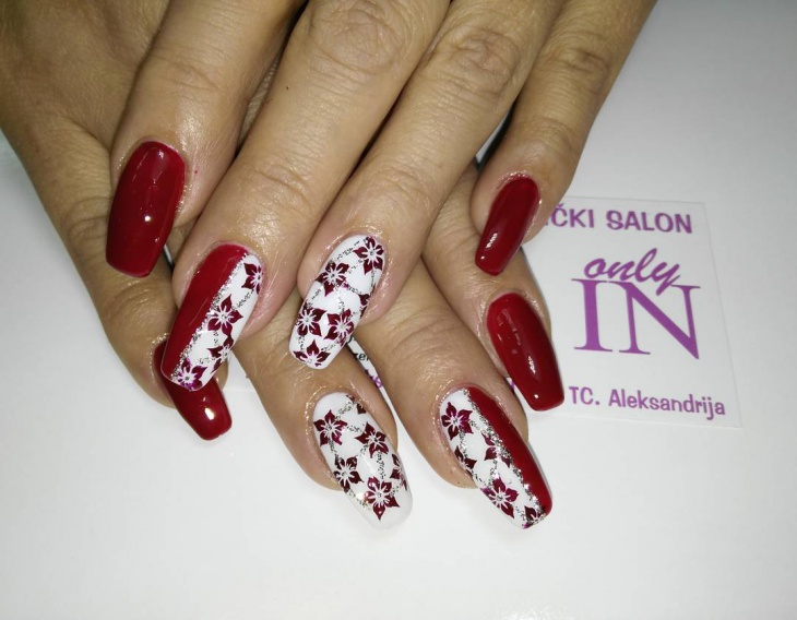 Dark Red Nail Design