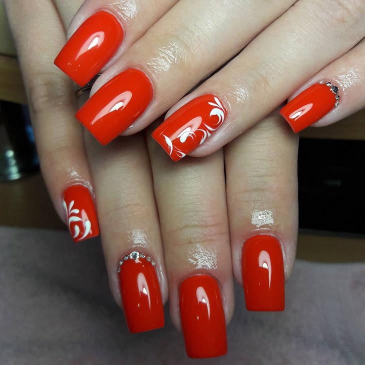 Red Gel Nail Design