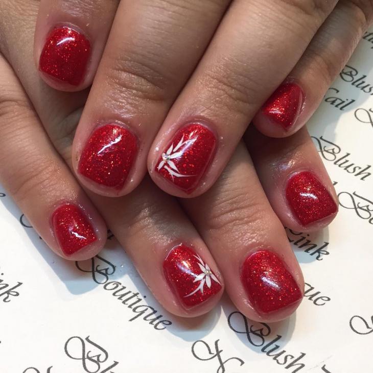 red glitter nail design
