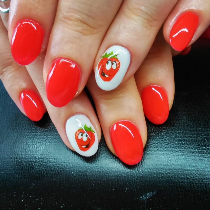 Red Strawberry Nail Design
