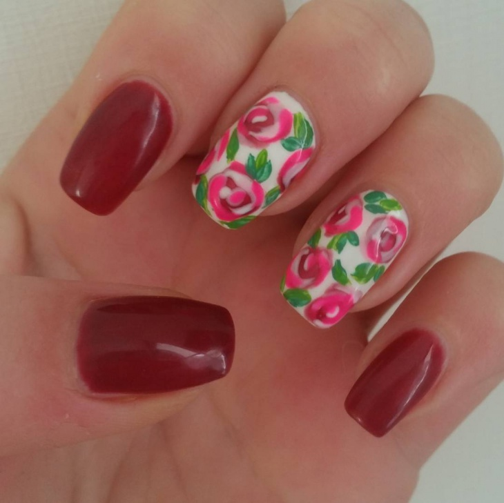 Red Flower Nail Art Idea