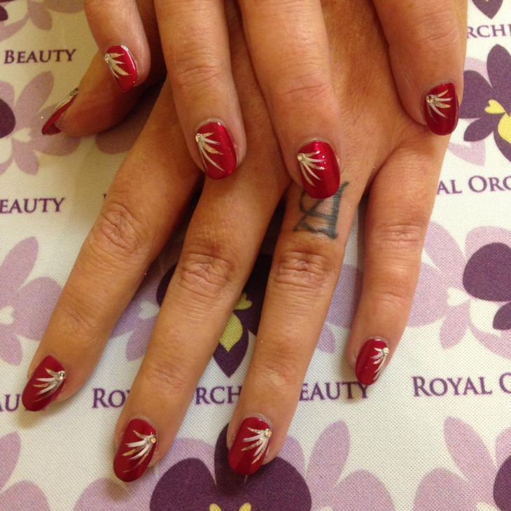 Red Festive Nail Art Design