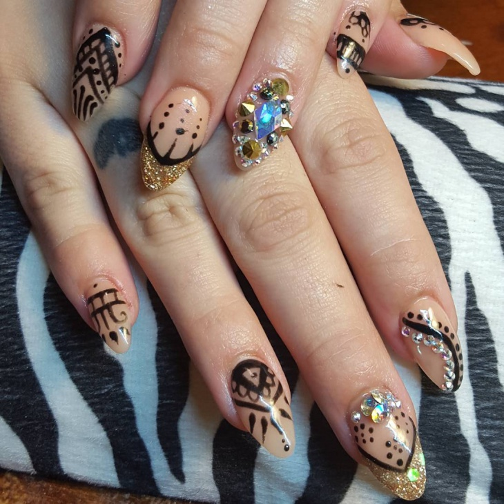 thanksgiving acrylic nail art design