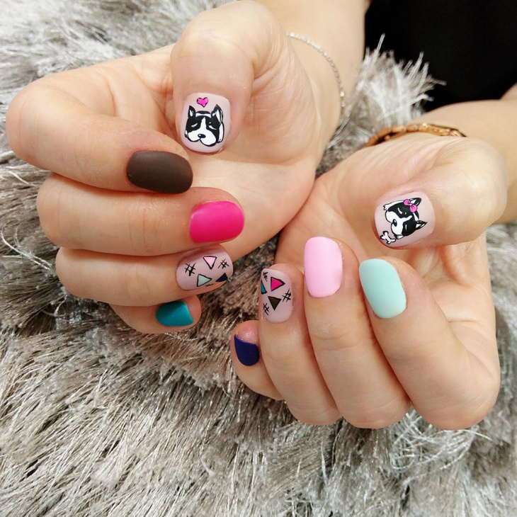 cartoon nail art design for short nails