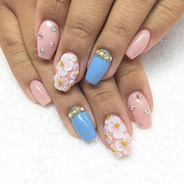 3d flower nail art design