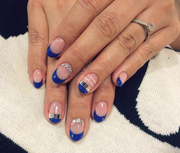 blue french tip nail art design