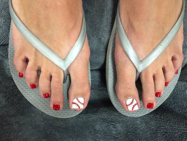 baseball toe nail art design