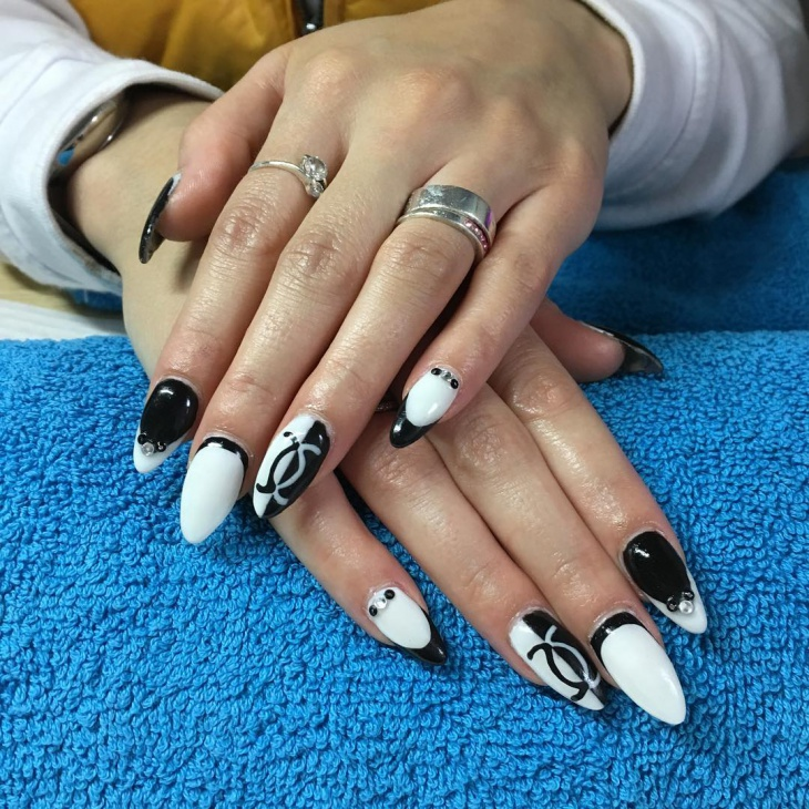 black and white acrylic nail art designs