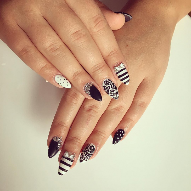 black and white nail art design for prom
