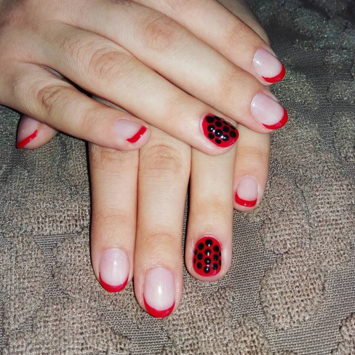 red tip nail art design