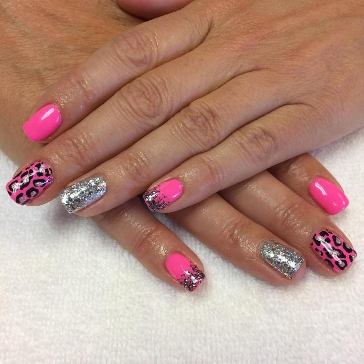 silver glitter nail art design
