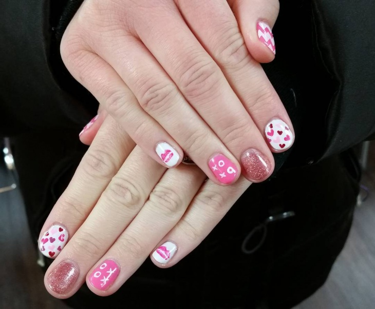 cute valentines day nail design