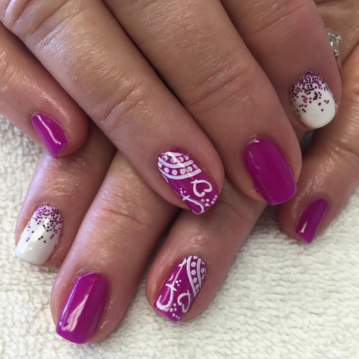 shellac valentines day nail art design