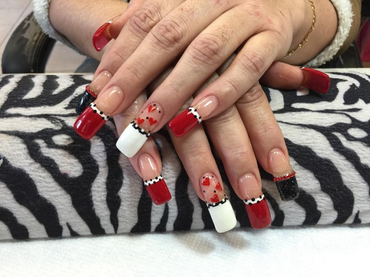 valentines day gel nail art design