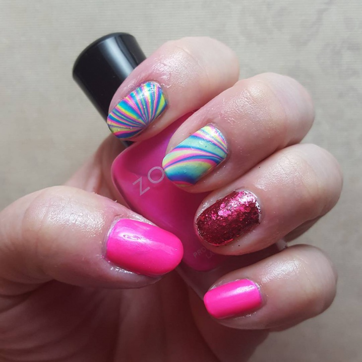 rainbow water marble nail art design