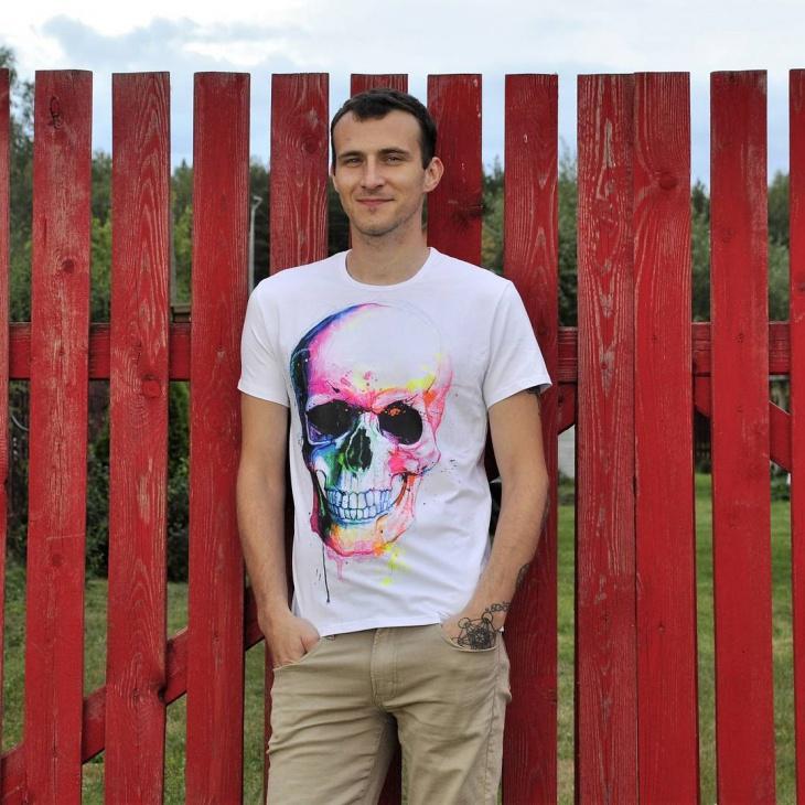 psychedelic skull t shirt design