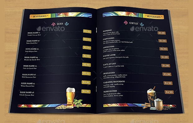 Bar Drinks Menu Template