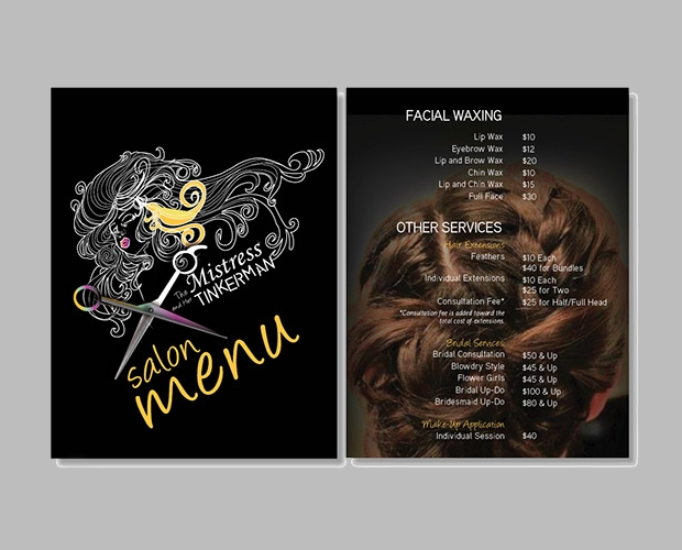Hair Salon Menu Design