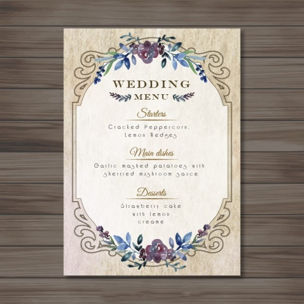 Vintage Wedding Menu Design