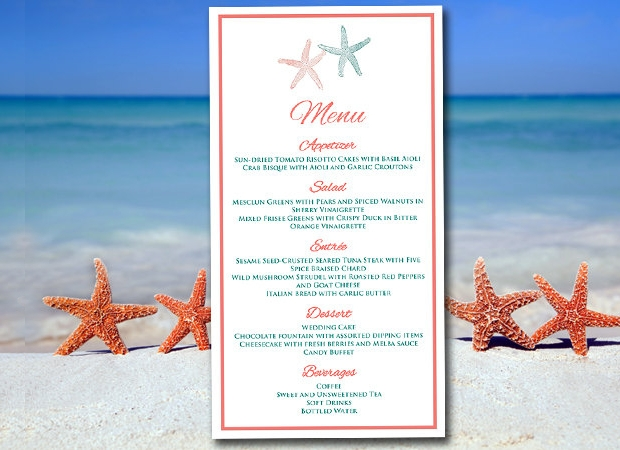 Beach Wedding Menu Design