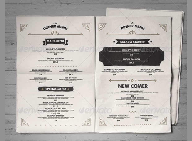 Vintage Food Menu Design