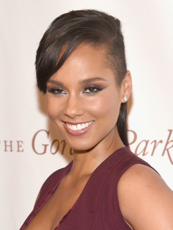 Alicia Keys Shaved Fringe Hair Design