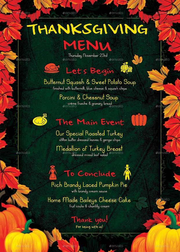 Thanksgiving Restaurant Menu Design