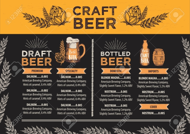 Beer Bar Menu Design