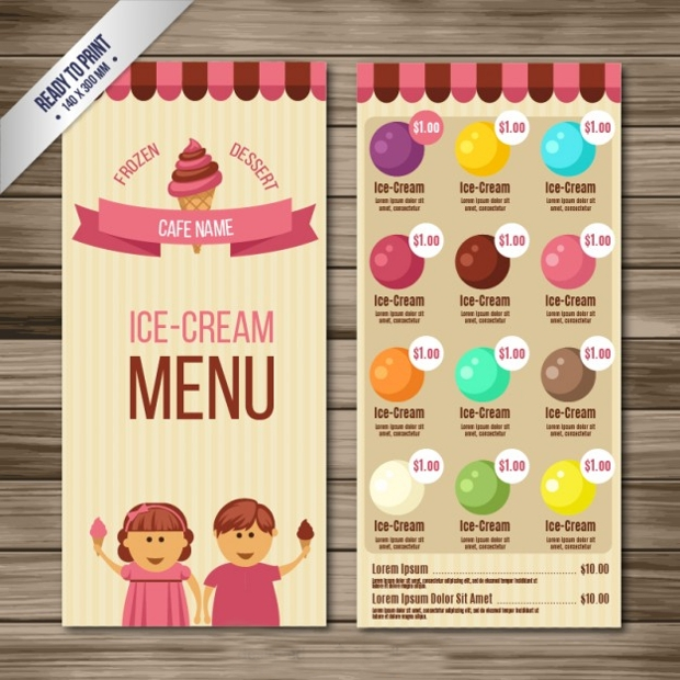 Ice Cream Parlour Menu Design