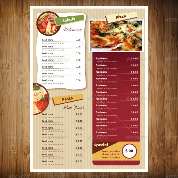 Colorful Restaurant Menu Design