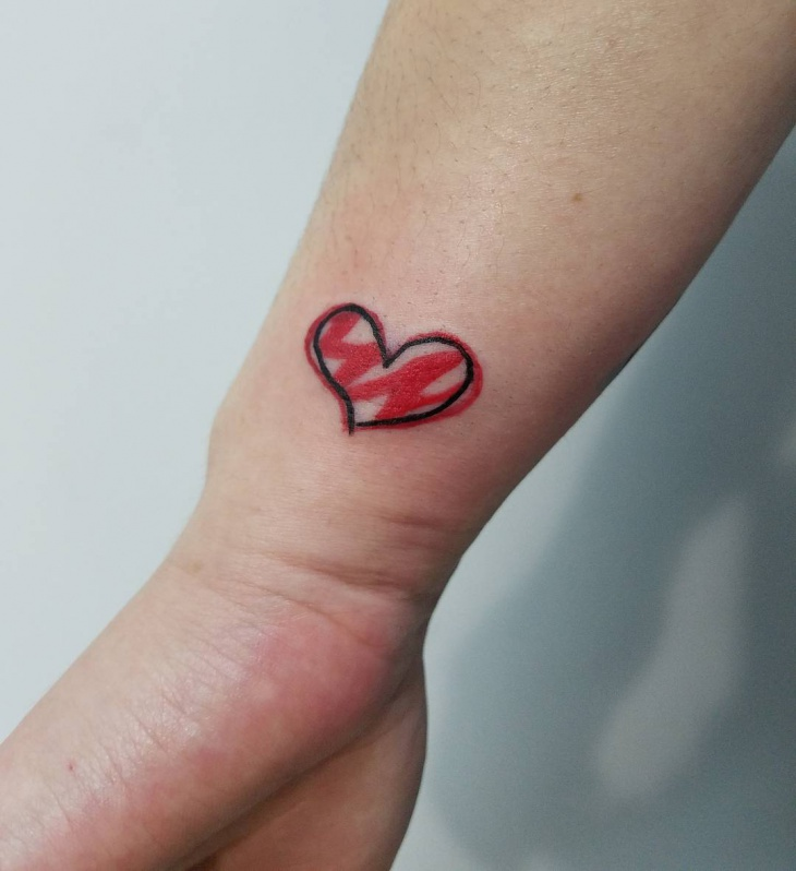 Small Heart Tattoo Design on Wrist