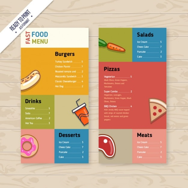 Colorful Food Menu