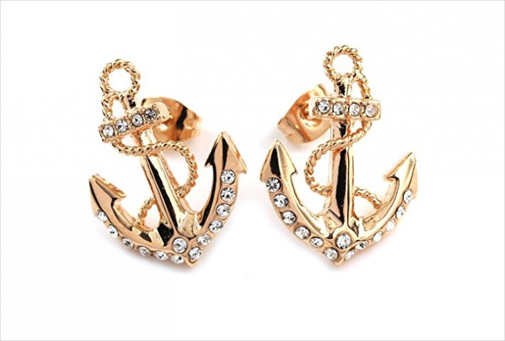 rose gold anchor stud earrings