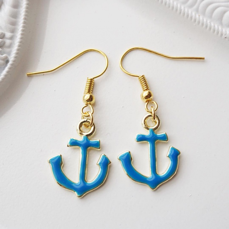 handmade anchor earrings