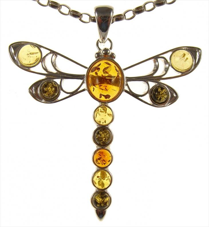 dragonfly amber pendant