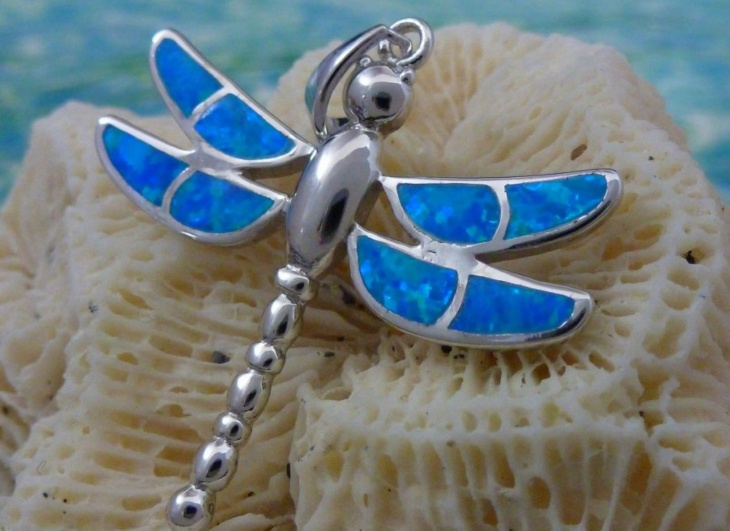 opal dragonfly pendant