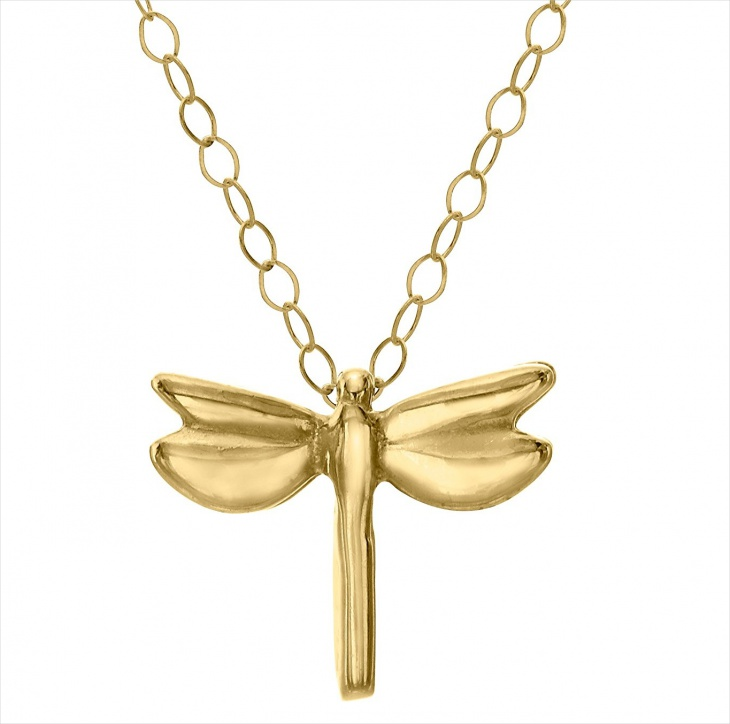 Gold Dragonfly Pendant Necklace