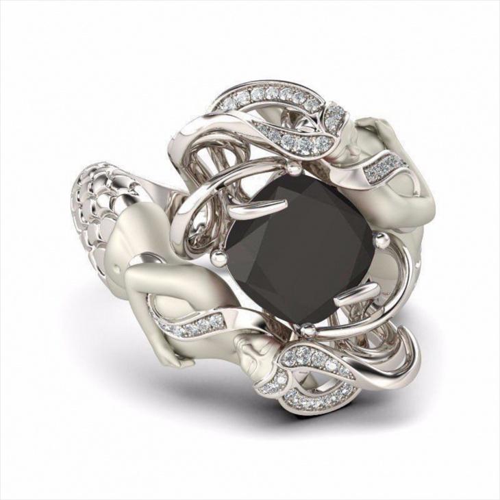 mermaid ring with black stone
