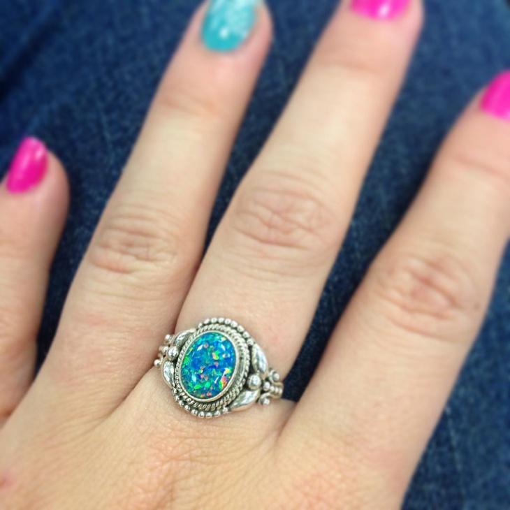 opal stone mermaid ring