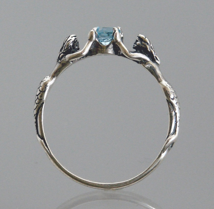 mermaid ring with blue stone