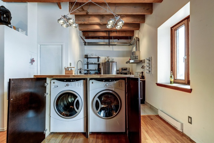 rustic small laundry room