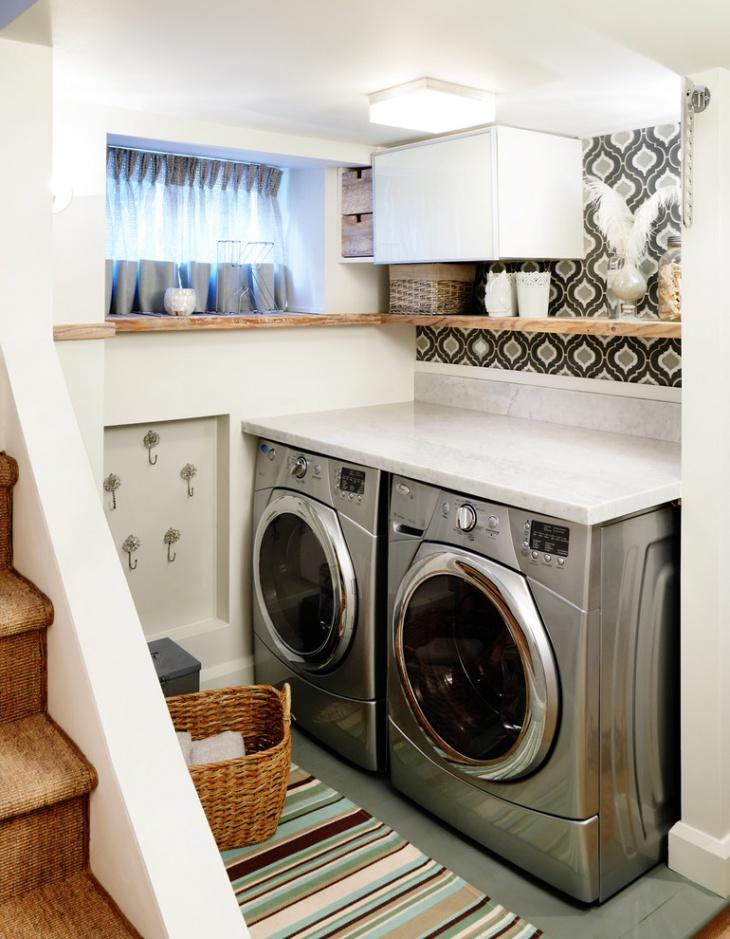 small basement laundry room